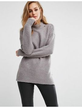 replay-high-neck-fluffy-knit-sweater by replay