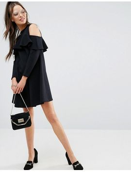 asos-petite-cold-shoulder-sweat-dress-with-ruffle by asos-petite