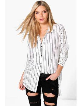 lacey-striped-dip-hem-shirt by boohoo