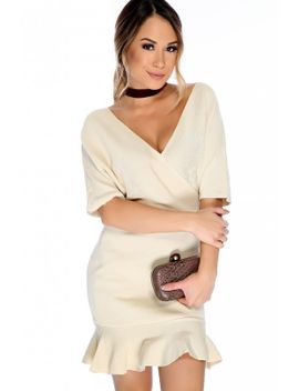 sexy-beige-v-neck-line-quarter-sleeve-ruffle-hem-casual-party-dress by ami-clubwear