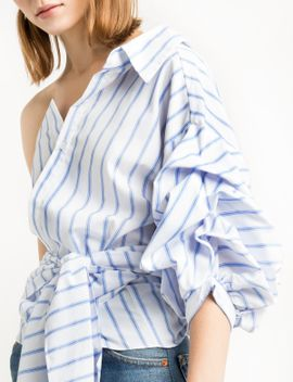 white-one-shoulder-wrap-balloon-striped-shirt by pixie-market