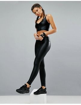 haute-body-black-foil-zip-yoga-crop-top by haute-body