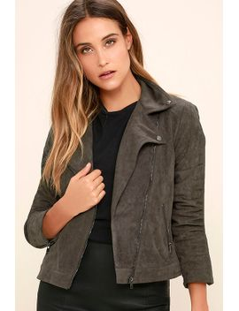 catch-you-on-the-flip-side-charcoal-grey-suede-moto-jacket by lush