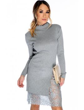 sexy-grey-ruffled-mock-neck-long-sleeve-side-slit-floral-lace-detailing-knee-length-sweater-dress by ami-clubwear