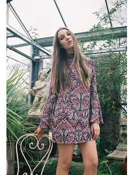 70-inspired-bell-sleeve-pink-paisley-shift-dress by no-brand-name