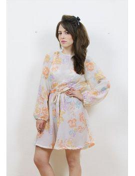 70s-chiffon-sheer-floral-print-dress by no-brand-name