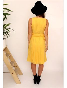 vintage-80s-yellow-silk-pleated-midi-dress by no-brand-name