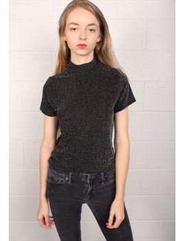 electric-80s-black-mock-turtleneck-top by no-brand-name