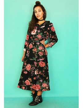 black-floral-print-long-sleeved-maxi-dress by no-brand-name