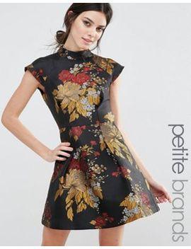 chi-chi-london-petite-high-neck-mini-prom-dress-with-floral-jacquard by chi-chi-london-petite