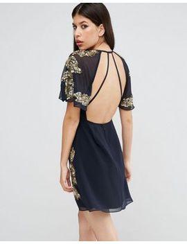 asos-embellished-floral-flutter-sleeve-skater-mini-dress by asos-collection