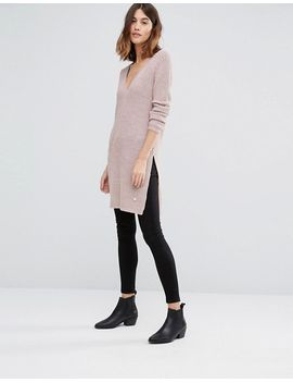 only-deep-v-neck-long-knit-sweater-with-side-split by only