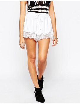 asos-high-waisted-jersey-shorts-with-lace-hem by asos-collection