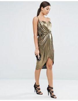 asos-asymmetric-wrap-front-midi-metallic-dress by asos-collection