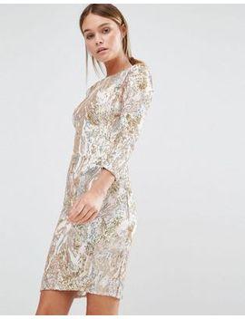 little-mistress-3_4-sleeve-patterned-sequin-mini-dress by little-mistress