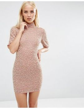 asos-premium-pearl-scatter-mini-bodycon-dress by asos-collection