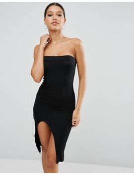 asos-strapless-midi-bodycon-dress-with-curved-splits by asos-collection