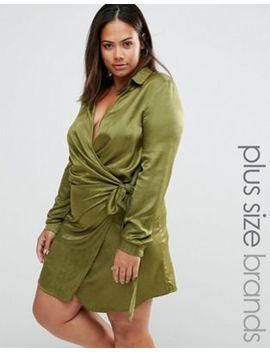 missguided-plus-size-satin-wrap-tie-detail-dress by missguided
