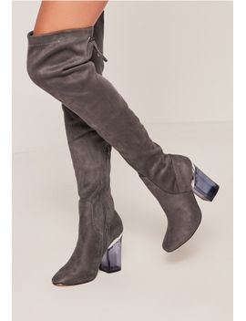 grey-faux-suede-over-the-knee-clear-heeled-boots by missguided