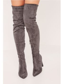 grey-over-the-knee-heeled-boots by missguided