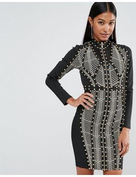 wow-couture-longsleeved-bandage-dress-with-allover-studs by wow-couture