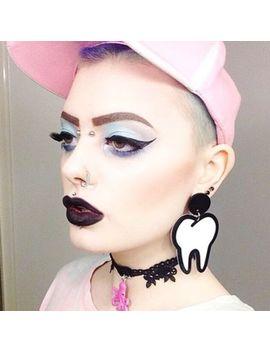 women-exaggerated-funny-teeth-earrings-tooth-ear-stud-eardrop-nightclub-jewelry by unbranded