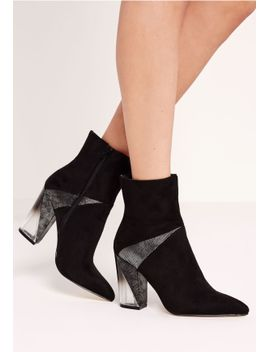 black-faux-suede-perspex-asymmetric-heel-ankle-boots by missguided