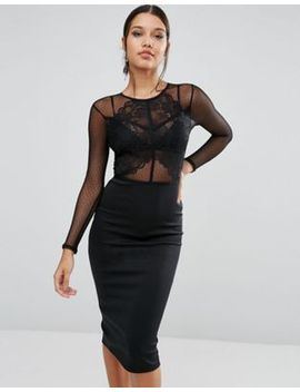 asos-dobby-scallop-lace-panel-bodycon-midi-dress by asos-collection