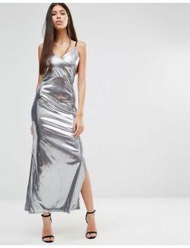 boohoo-metallic-side-split-maxi-dress by boohoo