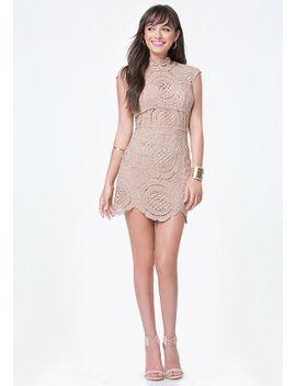 crochet-lace-mini-dress by bebe