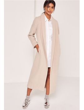 shawl-collar-faux-wool-maxi-coat-nude by missguided