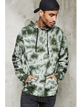 stripe-sleeve-tie-dye-hoodie by forever-21