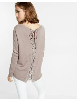 Shoptagr | Lace Up Back Tunic Sweater by Express