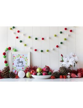 red green christmas felt ball garland christmas