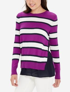 Striped Mixed Media Sweater by The Limited