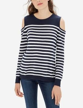 Striped Cold Shoulder Sweater by The Limited