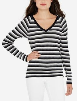 Striped V Neck Pullover by The Limited