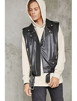 4e262aa7e86 belted-faux-leather-moto-vest by forever-21