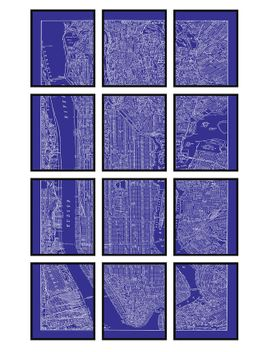Shoptagr new york city map 12 panel blueprint new york city new york city map 12 panel blueprint new malvernweather Gallery
