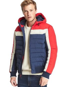 Shoptagr Cold Control Max Colorblock Hooded Puffer By Gap