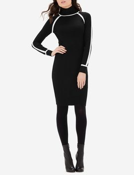 Contrast Trim Turtleneck Sweater Dress by The Limited