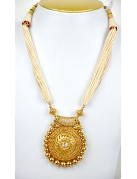 Shoptagr antique faux pearl necklace with gold pendant and stud mayillondon antique faux pearl necklace with gold pendant mozeypictures Image collections