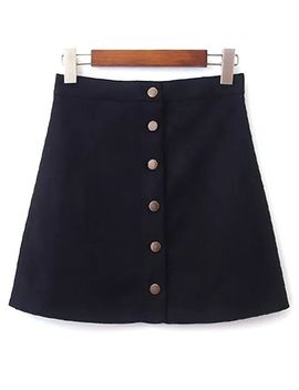 Faux Suede Full Buttoned A Line Skirt by Sammy Dress
