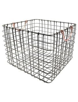 large-wire-milk-crate-with-copper-handles---threshold by shop-collections