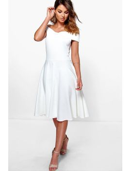 off-the-shoulder-midi-skater-dress by boohoo