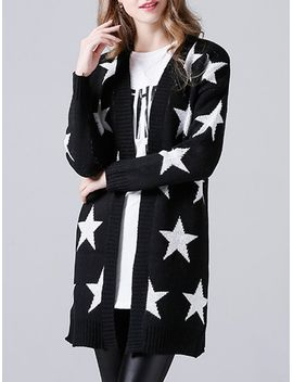 Star Print Knitted Collarless Cardigan by Sammy Dress