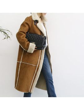Naning9   Faux Suede Fleeced Line Coat by Brand From South Korea