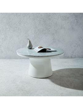 Marble Topped Pedestal Coffee Table White By