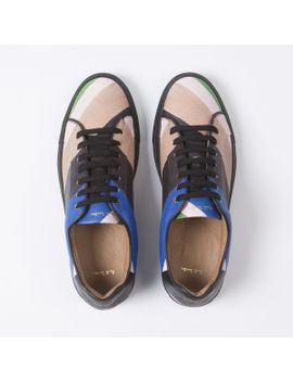 Men's Chevron Stripe Leather 'basso' Trainers by Paul Smith