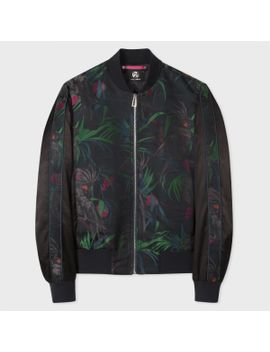 Men's Black 'cockatoo' Jacquard Bomber Jacket by Paul Smith